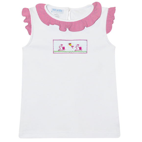 Bunnies Smocked White Sleeveless Girls Blouse
