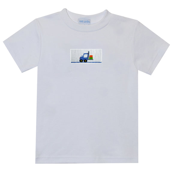 Forklift Smocked White Short Sleeve Boys Tee Shirt