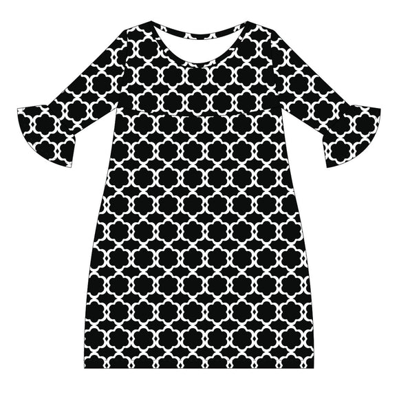 Black and White Amy Dress three quarter sleeve