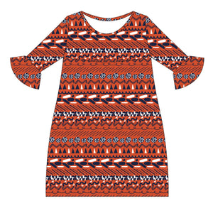 Orange and Navy and White Amy Dress three quarter sleeve