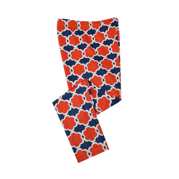 Orange and Navy and White Leggings