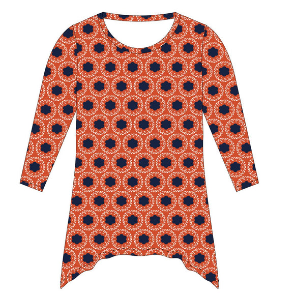 Orange and Navy and White Tunic Blouse Long Sleeve