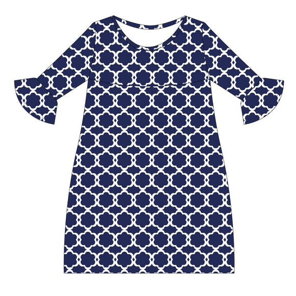 Navy and White Amy Dress three quarter sleeve