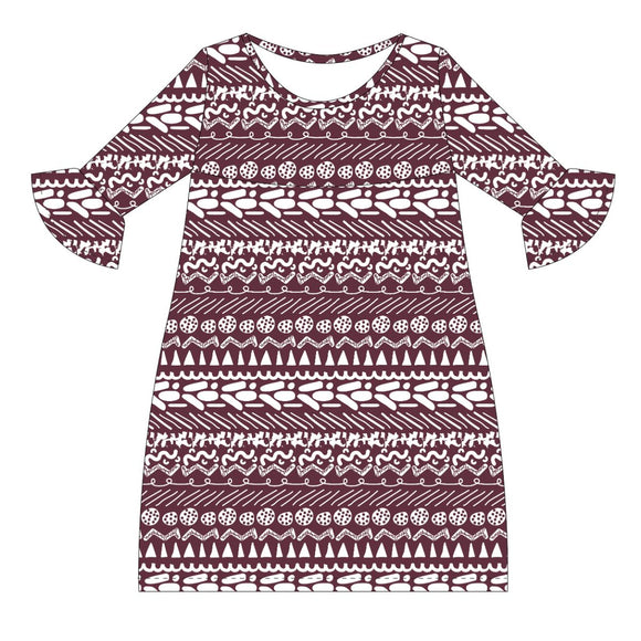 Maroon and White Amy Dress three quarter sleeve