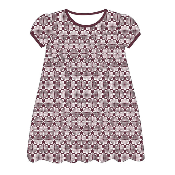 Maroon and White Epic Dress Short Sleeve