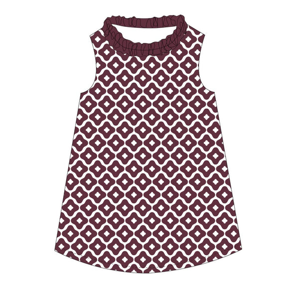Maroon and White A Line Baby Dress