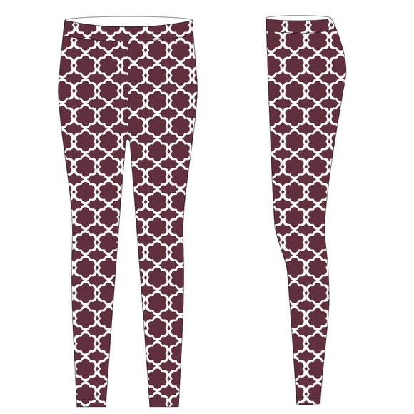 Maroon and White Leggings