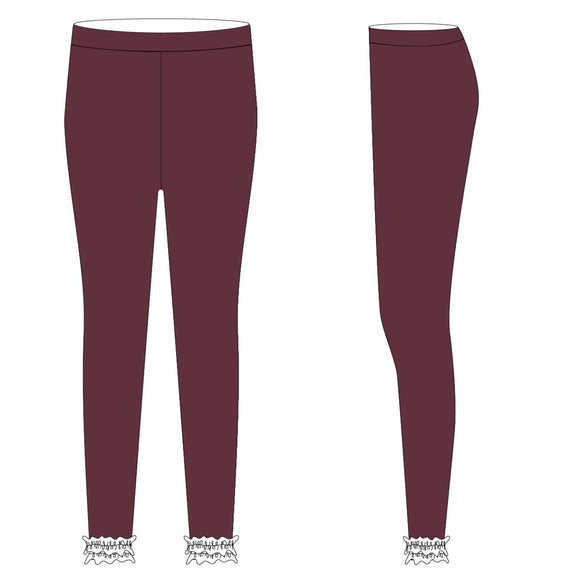 Maroon and White Solid Ruffle Leggings