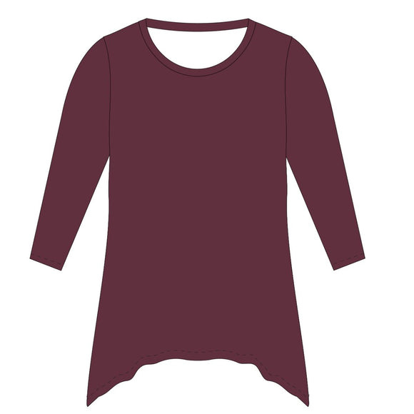 Maroon Solid Tunic Blouse Long Sleeve