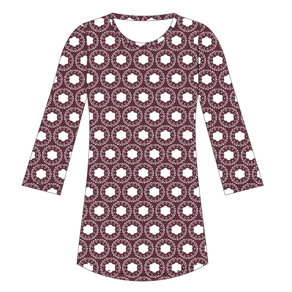 Maroon and White Vivi Dress Long Sleeve
