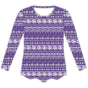 Purple and White Laurie Blouse Long Sleeve