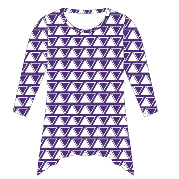 Purple and White Tunic Blouse Long Sleeve
