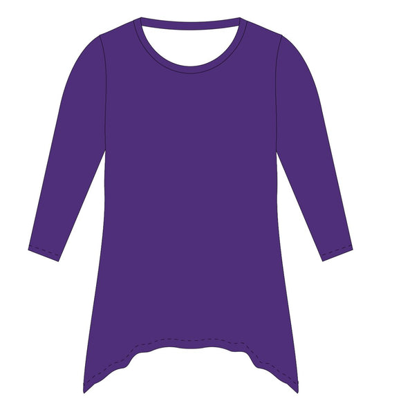 Purple Solid Tunic Blouse Long Sleeve
