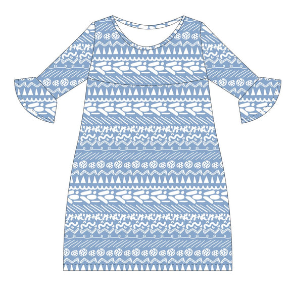 Lt Blue and White Amy Dress three quarter sleeve