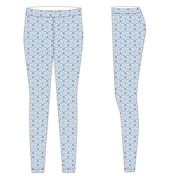 Lt Blue and White Leggings