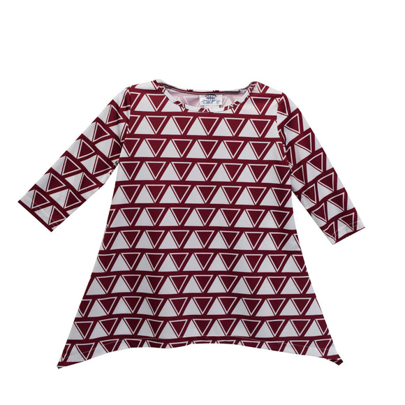 Maroon and White Blacksburg Tunic Blouse Long Sleeve