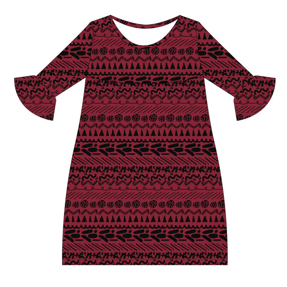 Red and Black Amy Dress three quarter sleeve