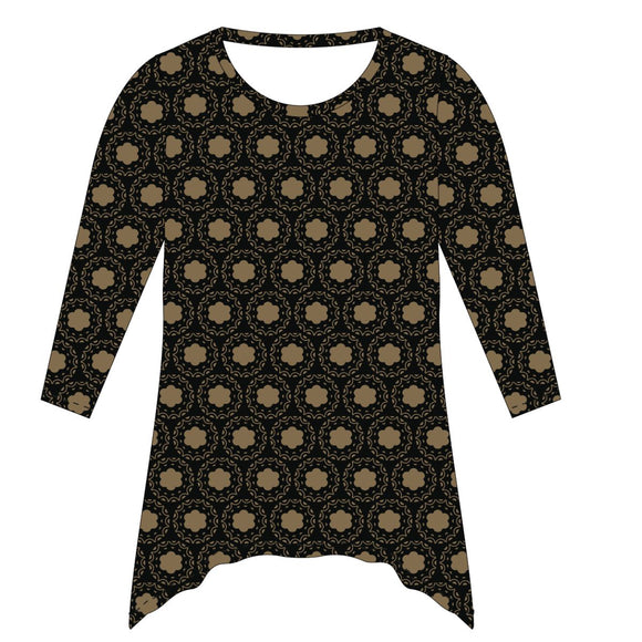 Black and Rust Gold Tunic Blouse Long Sleeve