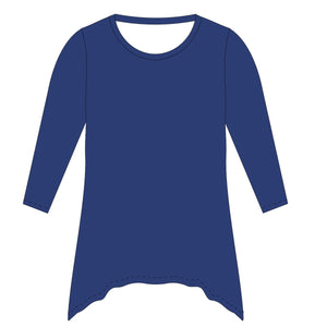 Blue Solid Tunic Blouse Long Sleeve