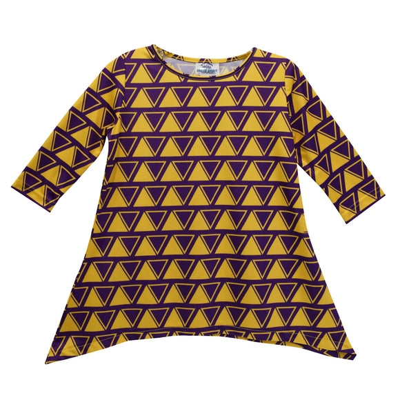 Purple and Gold Yellow Tunic Blouse Long Sleeve