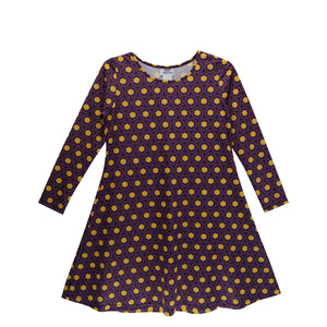 Purple and Gold Yellow Vivi Dress Long Sleeve