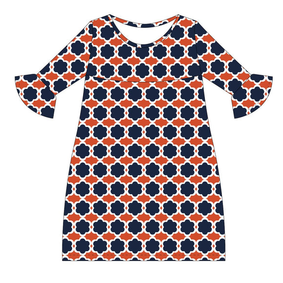 Navy and Orange and White Amy Dress three quarter sleeve