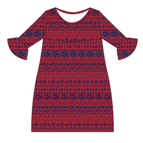 Red and Navy Amy Dress three quarter sleeve