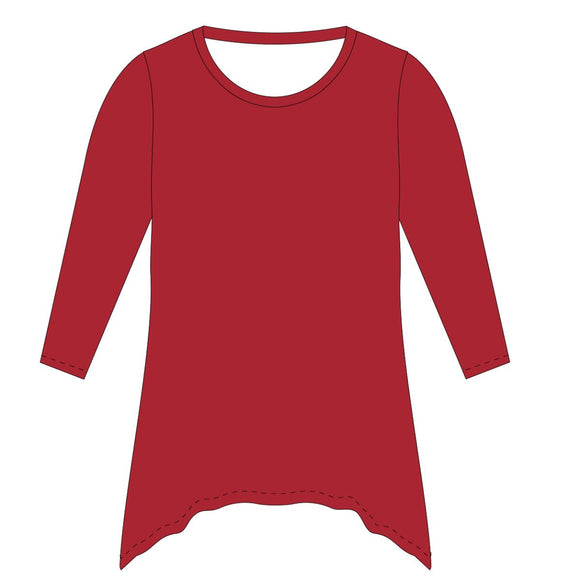 Red Solid Tunic Blouse Long Sleeve