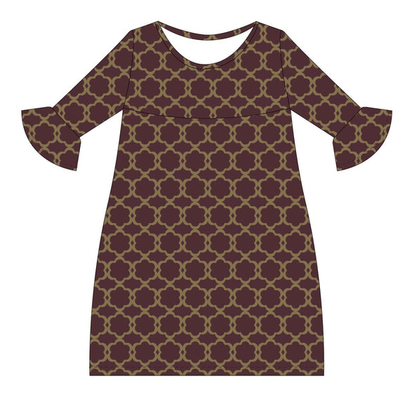 Maroon and Gold Amy Dress three quarter sleeve