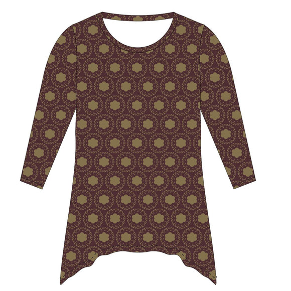Maroon and Gold Tunic Blouse Long Sleeve