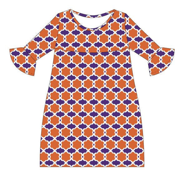 Orange and Purple and White Amy Dress three quarter sleeve