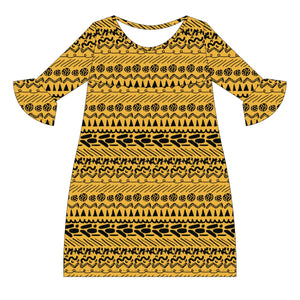 Gold and Black Amy Dress three quarter sleeve