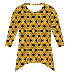 Gold and Black Tunic Blouse Long Sleeve