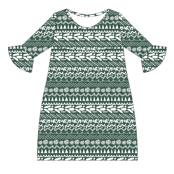 Green and White Amy Dress three quarter sleeve