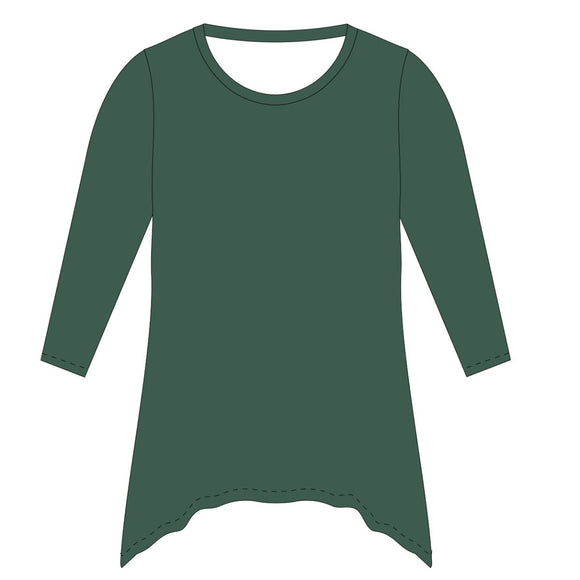 Green Solid Tunic Blouse Long Sleeve