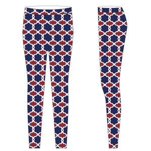 Royal and Red and White Leggings