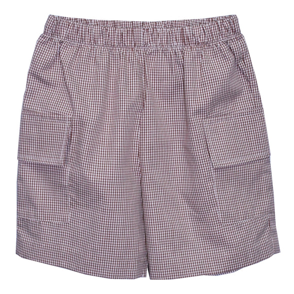 Brown Check Boys Cargo Short