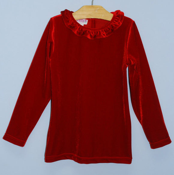 Simi Red Strech Velvet Knit Top