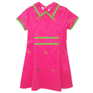 Bt Horse Embroidered Hot Pink Corduroy Dress