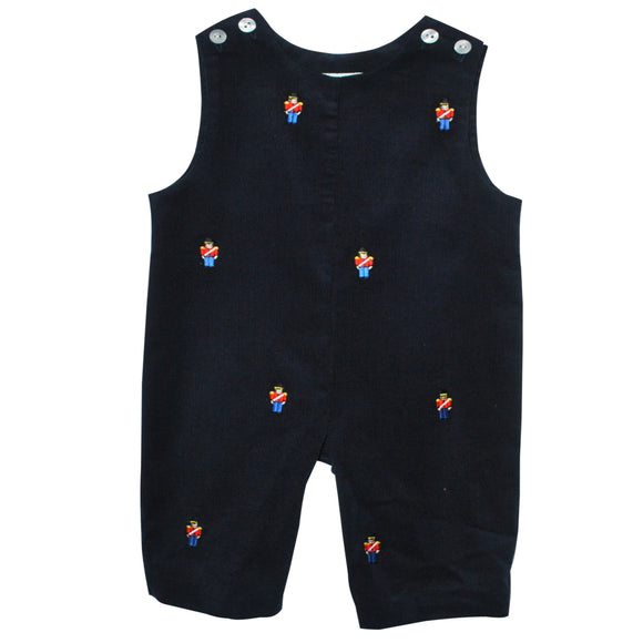Soldiers Embroidered Navy Corduroy Boys Overall