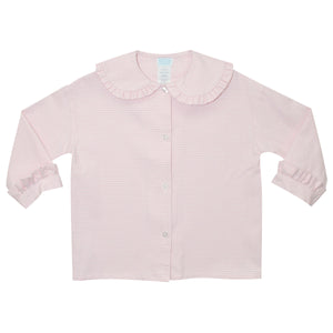 BT Pink and White Check Ruffle Collar Top