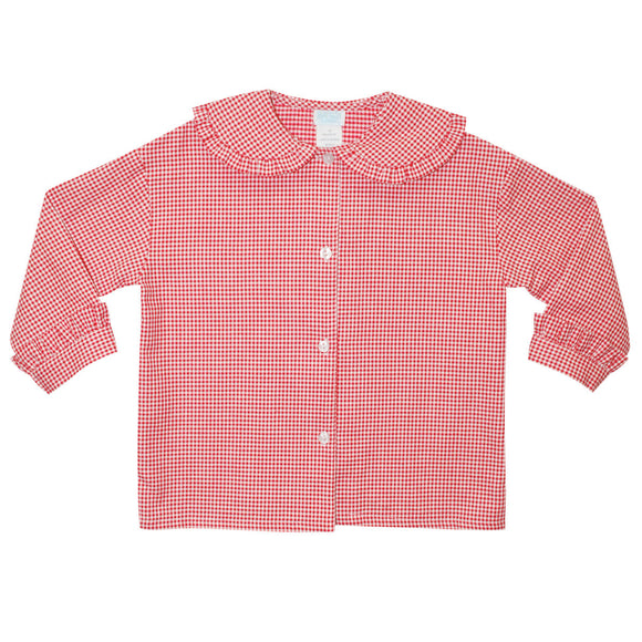 BT Red and White Check Ruffle Collar Top