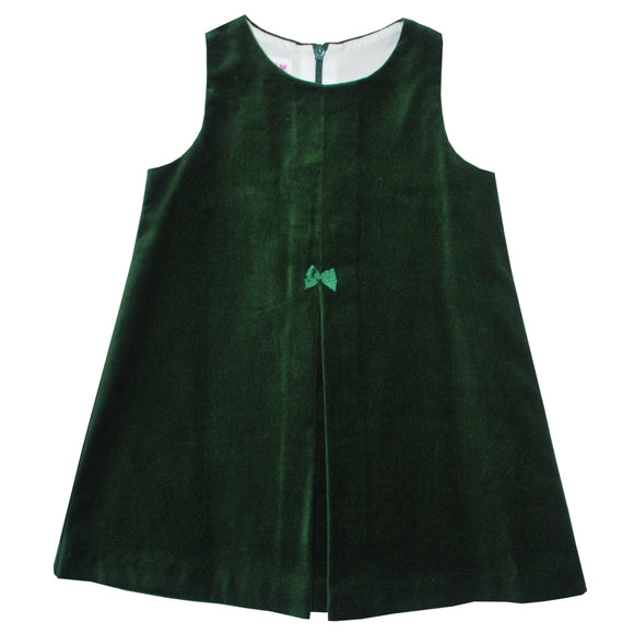 Simi Hunter Green Velveteen Pleated Jumper