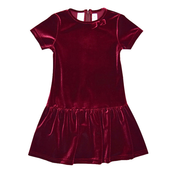 Stretch Velvet Burgundy Drop Waist Dress