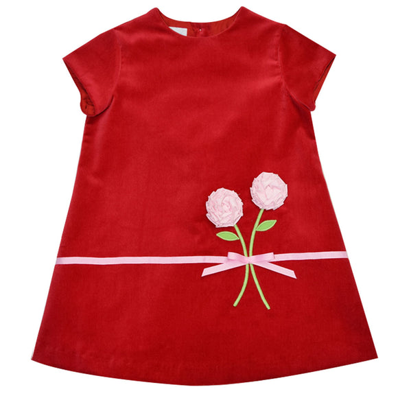 Bt Red Velveteen Applique Shift Dress