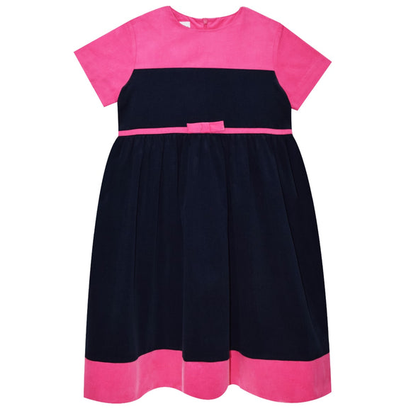 Navy and Fucsia Block Corduroy Dress Short Sleeve