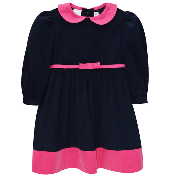 Navy and Fucsia Corduroy Dress Long Sleeve