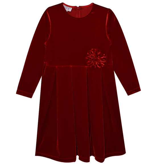 Red Scarlet Stretch Velvet Long Sleeve Dress