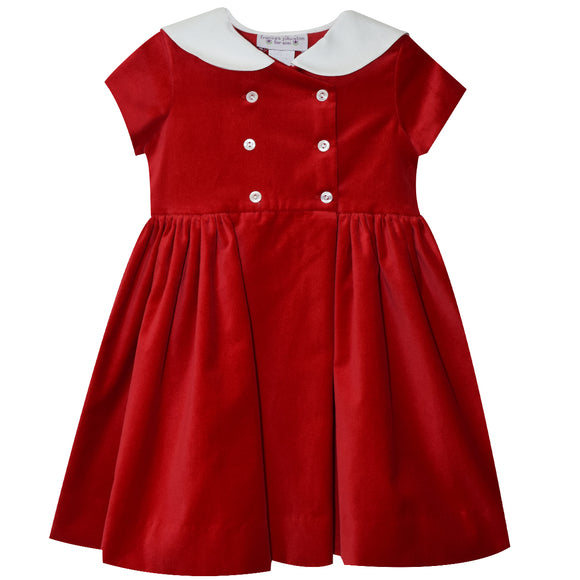 Red Velveteen Double Breasted Dress Short Sleeve