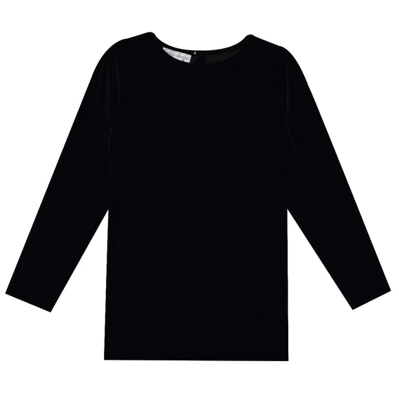 Black Velvet Boatneck Pullover Shirt Long Sleeve
